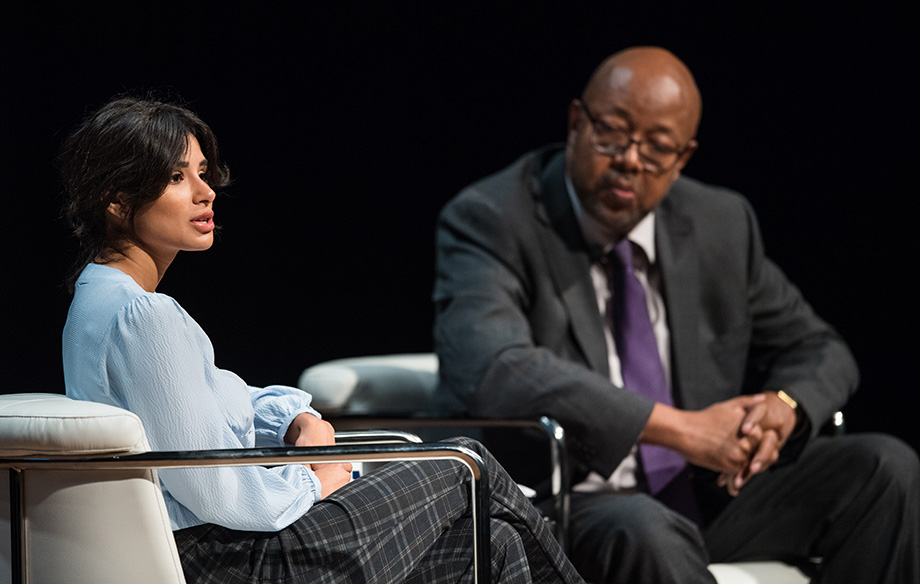 Photo of Diane Guerrero speaking with Leonard Pitts Jr.
