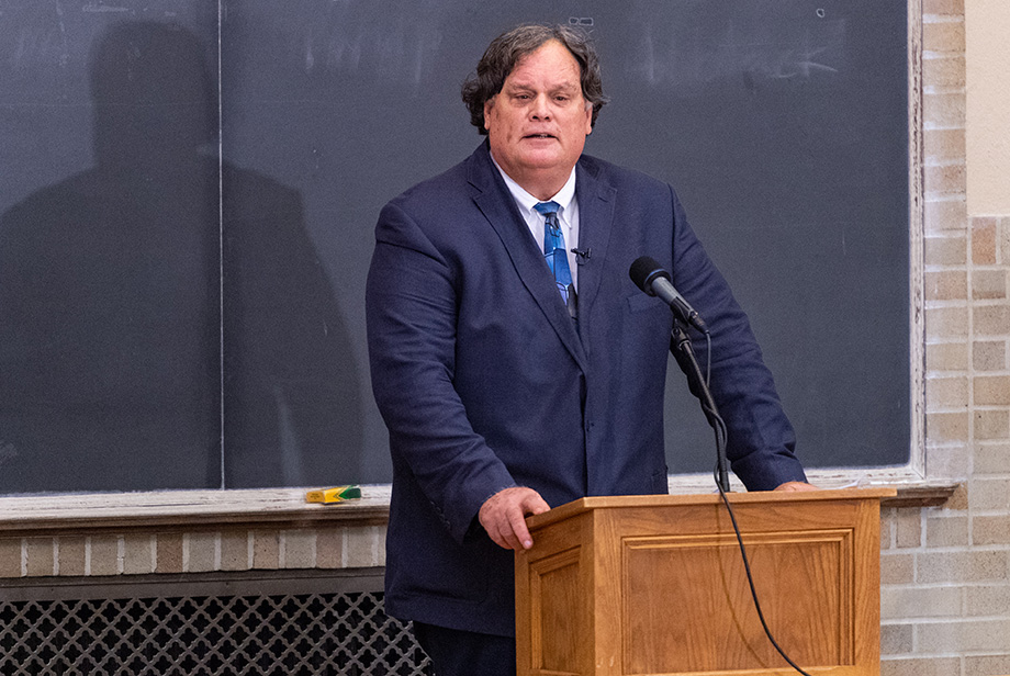 Photo of Gene Nichol delivering the Academic Freedom Lecture