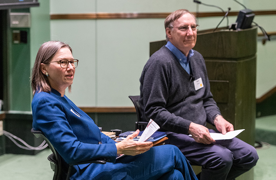 Photo of Jennifer Haverkamp and Stephen Forrest moderating town hall on carbon neutrality