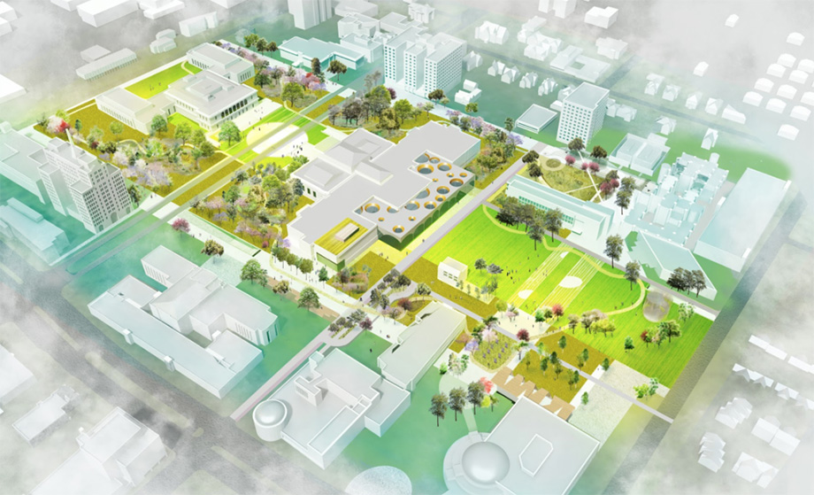 Drawing shows an aerial view of the arts and cultural district proposal