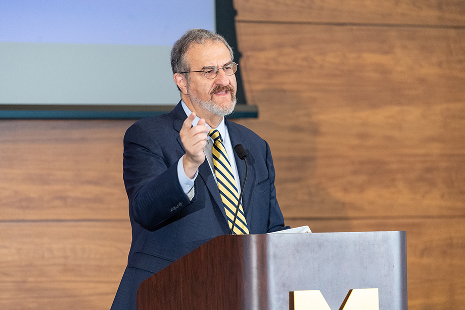 President Mark Schlissel speaks at the 2018 Leadership Breakfast