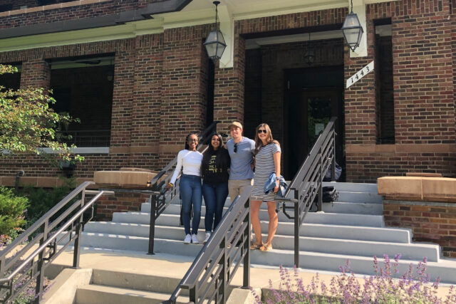 From left, Chyanne Laldee, Anisha Konkipudi, Nick Wasik and Taylor Fegan, student leaders representing the four Greek governing councils at U-M, stand outside the new home of Fraternity & Sorority Life. (Photo courtesy of Nicole Banks, Fraternity & Sorority Life)