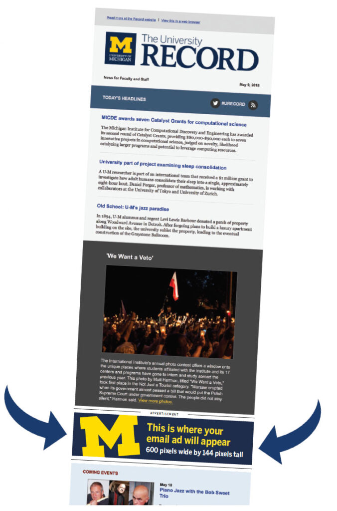 The University Record: Advertising Email Example