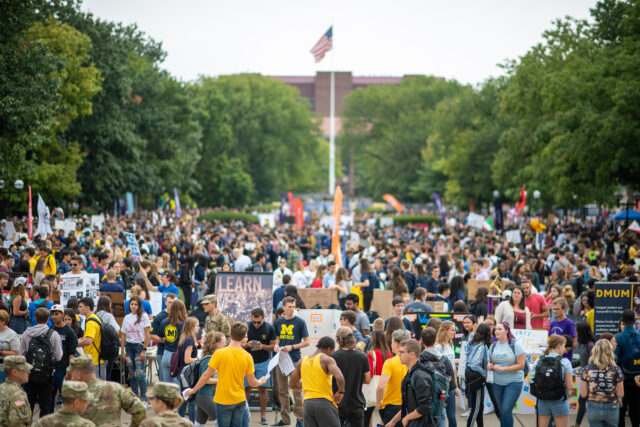 Students and others fill Ingalls Mall at Festifall.
