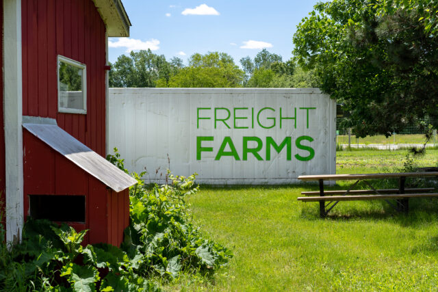 The Freight Farm is located at U-M's Campus Farm at the Matthaei Botanical Gardens.