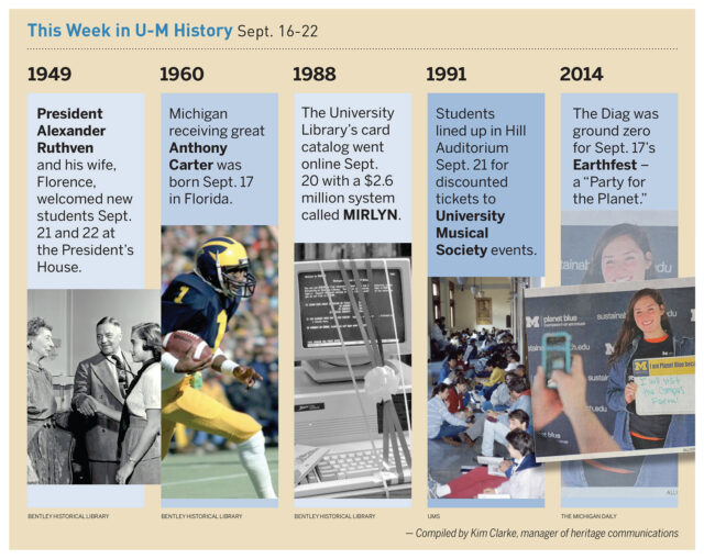 Composite photo of events in U-M history