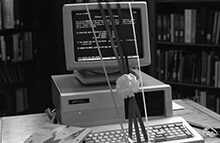 Photo of the University Library's card catalog system in 1988
