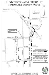 Map of Church Street-S. University Avenue detour