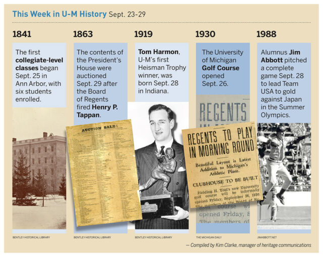 Composite photos of events in U-M history