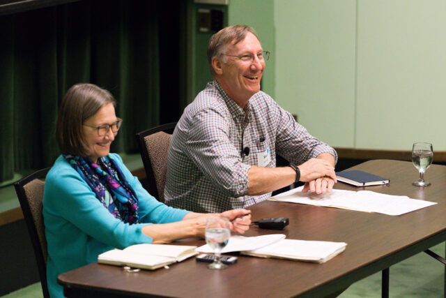 Photo of President's Commission on Carbon Neutrality co-chairs Jennifer Haverkamp and Stephen Forrest