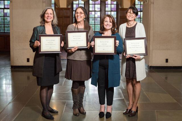 Photo of Paula Caproni, Holly Peters-Golden, Kathleen Jodl and Ewa Malachowska-Pasek. the 2019-20 Collegiate Lecturers.