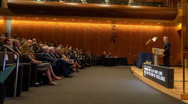 Photo of President Mark Schlissel addressing university leaders at his 2019 Leadership Breakfast.