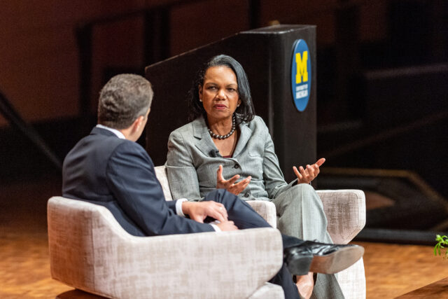 Photo of former Secretary of State Condoleezza Rice and Ford School Dean Michael Barr.