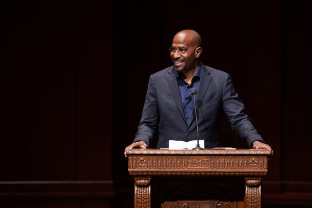 Photo of Van Jones delivering remarks at Hill Auditorium.