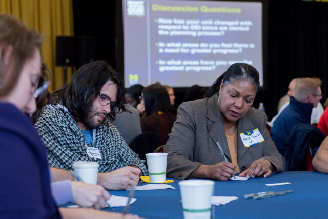 From left, Frank Suarez-Roman, assistant director of annual giving for Matthaei Botanical Gardens and Nichols Arboretum, and Monita Thompson, co-director of the Program on Intergroup Relations, were among those who participated in a small-group discussion.