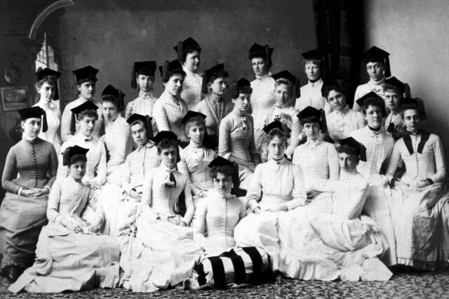 Photo of early female students at U-M.
