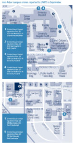 Map highlights items listed in the Police Beat roundup of September incidents.