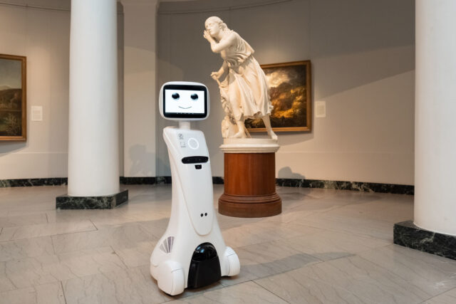 A prototype of a robot that Michigan Robotics has been testing at the U-M Museum of Art.