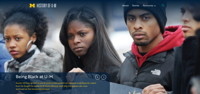 Screen shot of the homepage from the History of U-M website.