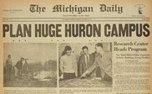 Photo of the Michigan Daily in 1952 announcing expansion of U-M to the north