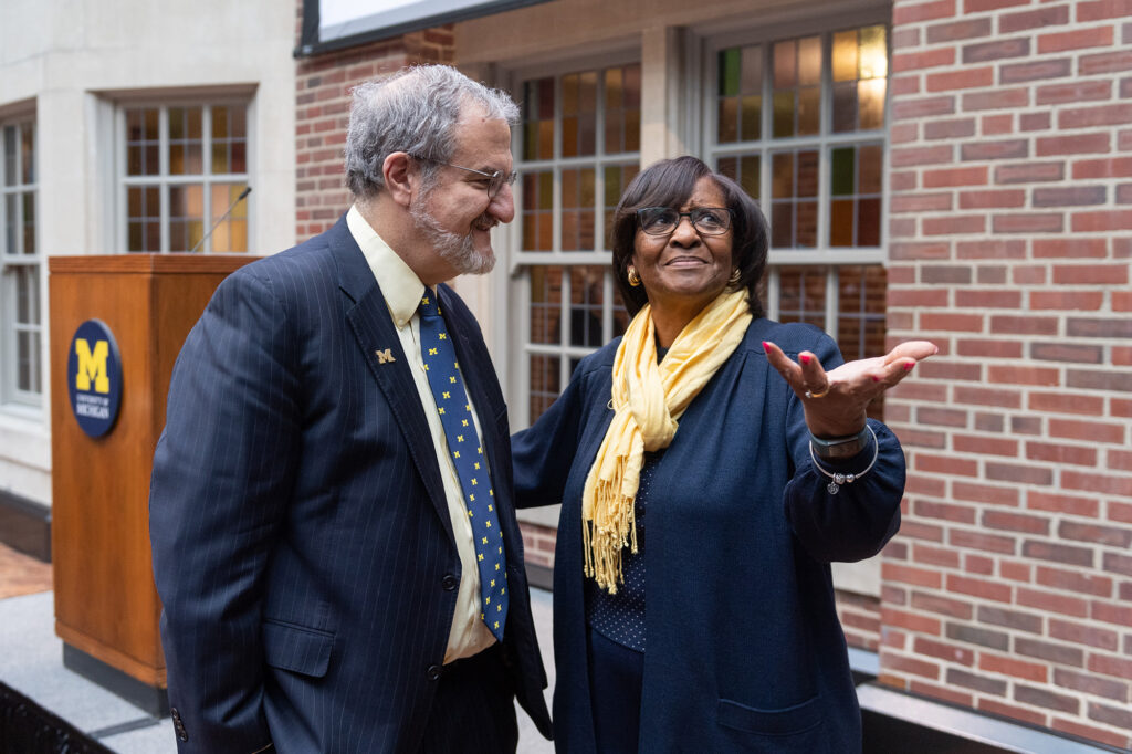 President Mark Schlissel and E. Royster Harper, vice president emeritus of student life, take a moment to admire the new Union.