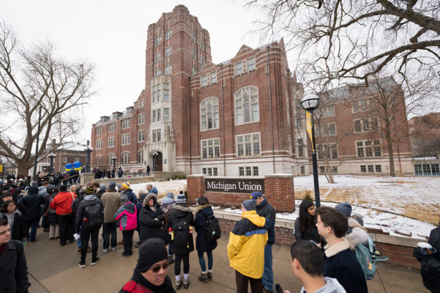 Members of the campus community lined up Monday morning, waiting to enter the renovated Union and witness the day's festivities.