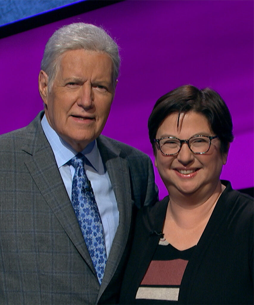 "Photo of Lisa Murray with ""Jeopardy!"" host Alex Trebeck."