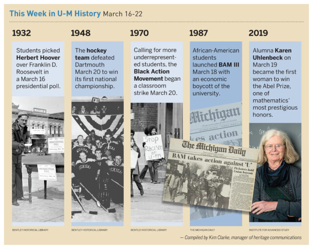 Historical events on the U-M campus during the week of March 16-22.