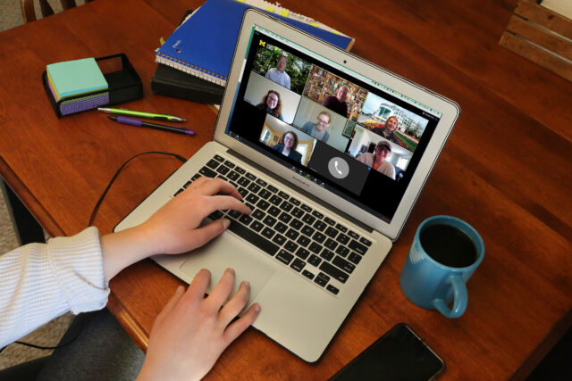 As U-M shifted to holding classes, programs and events in virtual formats, videoconferencing with professors and colleagues through Zoom and BlueJeans have become commonplace. (Photo by Joel Iverson, ITS Communications)