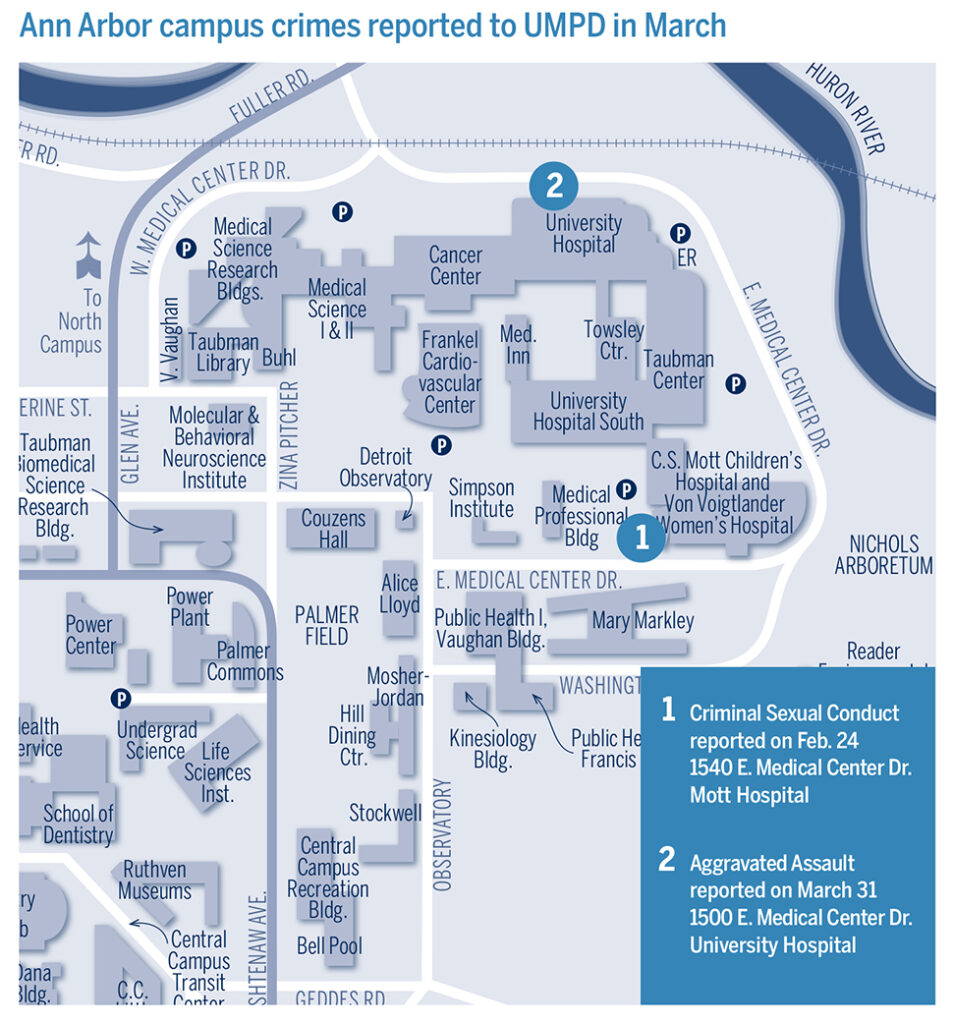 Map shows locations of crimes reported at U-M in March.
