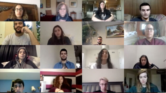 Carol Bardenstein, second from top left, associate professor of Arabic literature and culture, leads a class through a brief breathing and guided meditation session via Zoom. (Photo courtesy of Carol Bardenstein)