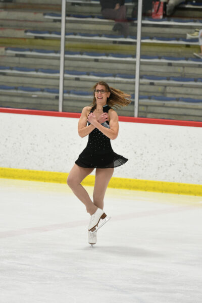 Kristin Seefeldt, associate director for educational programs at Poverty Solutions and an associate professor of social work and public policy, resumed her childhood figure-skating hobby as an adult and now competes in local competitions. (Photo courtesy of Kristin Seefeldt)
