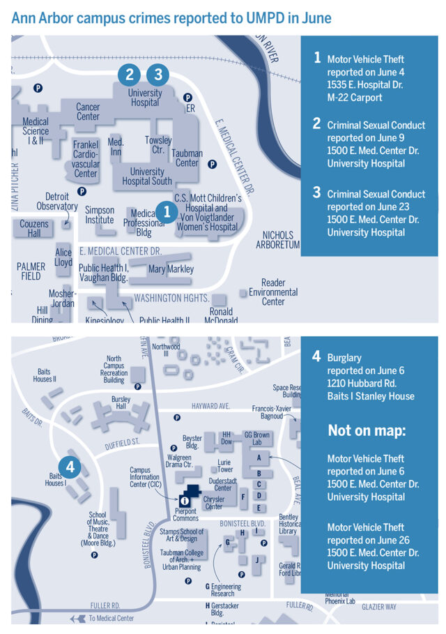 Map shows locations of crimes reported at U-M in June.