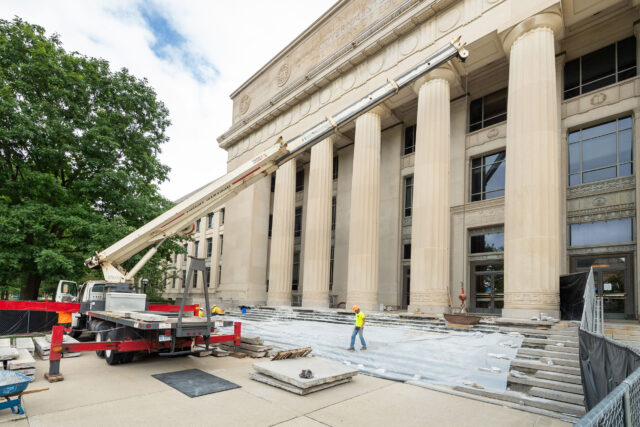 Repairs are underway to the iconic portico entrance of James B. Angell Hall and Tisch Hall and are expected to last into the fall semester. Architecture, Engineering and Construction is leading this project to maintain and preserve the facility and mitigate water infiltration to the basement level. Work includes removing the granite stair treads and slabs to replace waterproofing membranes and repair concrete, cleaning the granite before its reinstallation, repairs to the stone walls at the northern ADA entrance ramp and waterproofing at the southern entrance.