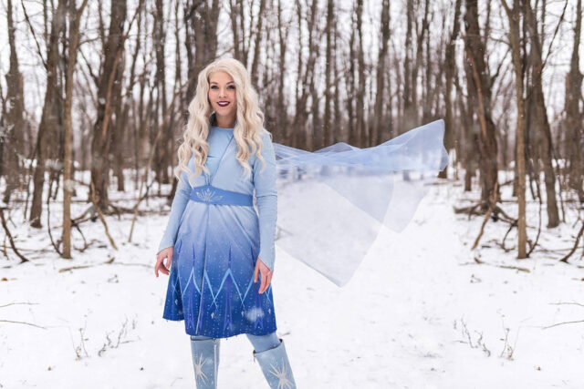 """Delaney Andrews, the annual giving and stewardship officer for the Gerald R. Ford School of Public Policy, owns her own company, Pixie Dust Entertainment. She dresses as princesses and fairy tale characters, such as the Snow Queen based on Elsa from """"Frozen,"""" for parties and events."""