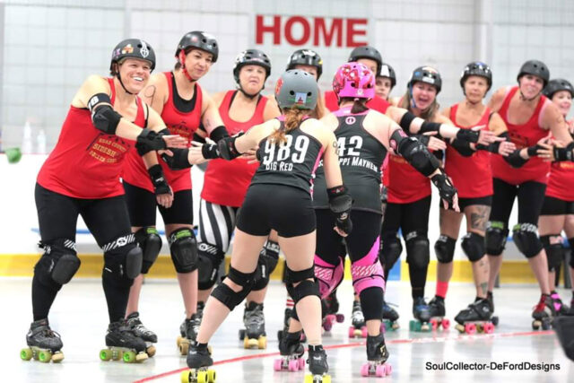 Devon Kinney, far left, whose roller derby name is Dark Ayn Stormy, competes for Quad County Roller Derby. Kinney serves as project manager in Michigan Medicine's Department of Family Medicine. (Photo courtesy of Soul Collector/DeFord Designs)