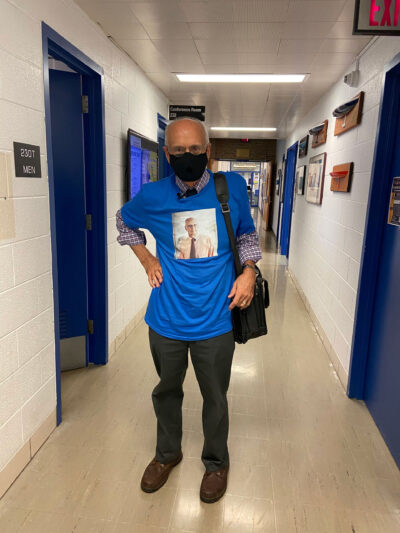 Professor Armin Troesch wears a T-shirt with his face on it, so his students know what he looks like under his mask. (Photo by Lisa Kisabeth, Department of Naval Architecture and Marine Engineering)