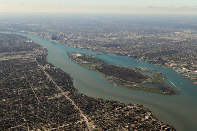 Photo of the Detroit River looking southwest.