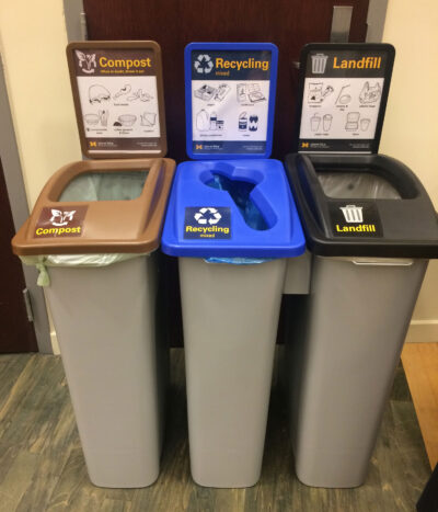 A new Where to Throw search tool builds on standardized waste bins and signs to help campus users sort waste properly. (Photo courtesy of the Office of Campus Sustainability)
