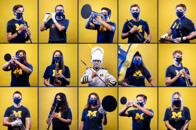 Photo composite of the Michigan Marching Band