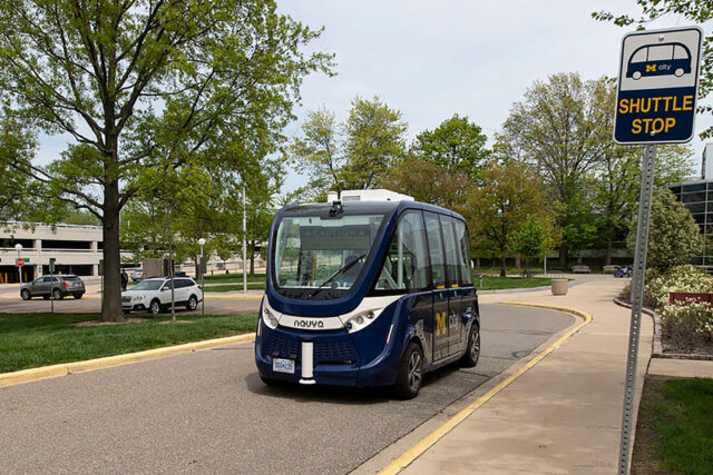 U-M donated one of two shuttles used for its driverless shuttle research project to The Henry Ford in Dearborn, Michigan. (Photo by Roger Hart, Michigan Photography)