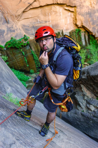 Joe Braun, a senior systems administrator at the Institute for Social Research, rappels in Mystery Canyon in Zion National Park in 2016. Braun enjoys hiking and exploring and is also a talented photographer. (Photo courtesy of Joe Braun)