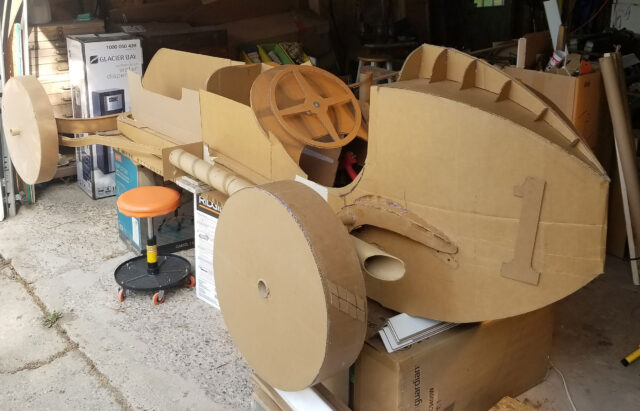 Gary Bohas is building a cardboard replica of a race car similar to one his father used to race. (Photo courtesy of Gary Bohas)