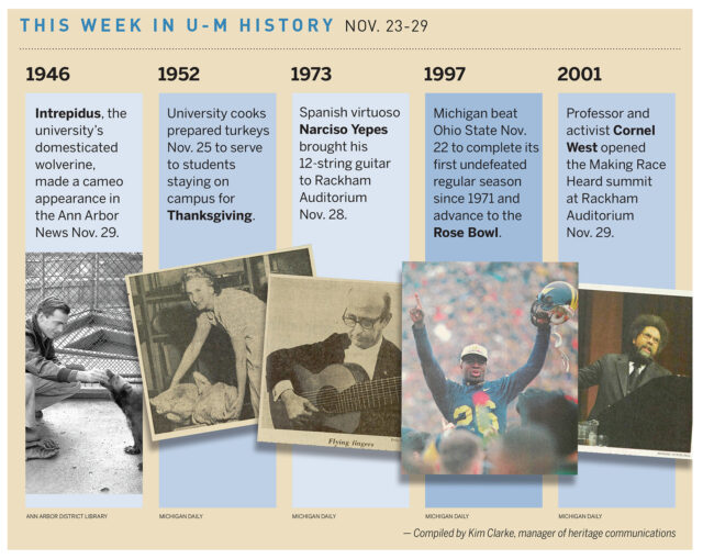On Nov. 25, 1952, university cooks prepared turkeys to serve to students staying on campus. Read about some of the other things that happened in U-M history during the week of Nov. 23-29.