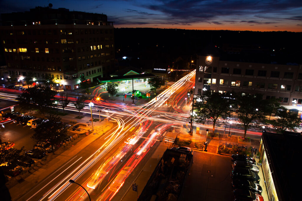 This time-lapse photo shows traffic at an Ann Arbor intersection. (Photo by Marcin Szczepanski, College of Engineering)