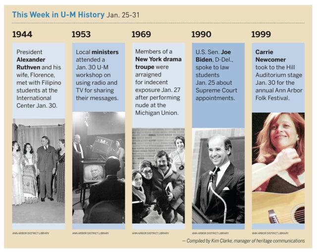 On Jan. 25, 1990, then-U.S. Sen. Joe Biden, D-Del., spoke to law students about Supreme Court appointments. Read about some of the other things that happened in U-M history during the week of Jan. 25-31.