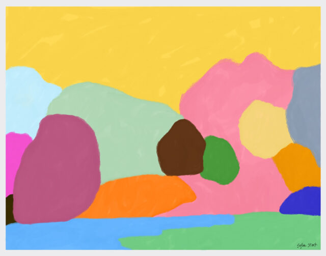 """This image was created using the """"Painting Minimalist Landscapes"""" project prompt on Art Connects Kids, a new website created by students at the Stamps School of Art & Design."""