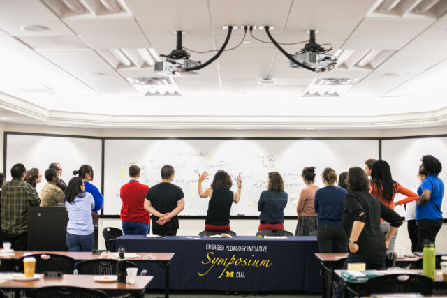 Photo of students leading discussions of tactics in community-based learning at the 2016 Engaged Pedagogy Initiative Symposium.