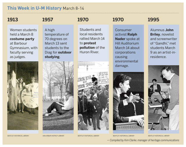 On March 13, 1957, a high temperature of 70 degrees sent students to the Diag for outdoor studying. Read about some of the other things that happened in U-M history during the week of March 8-14.