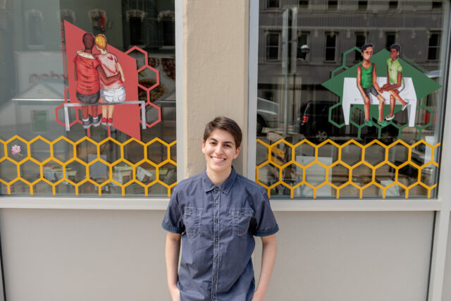 Photo of Shalin Berman and their art exhibit